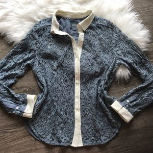Anthropologie MAEVE blue lace button down shirt